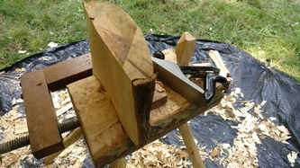 wood planing a stool top