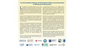 Las Universidades Católicas y de Orientación Católica nos pronunciamos en Defensa de la Vida Humana