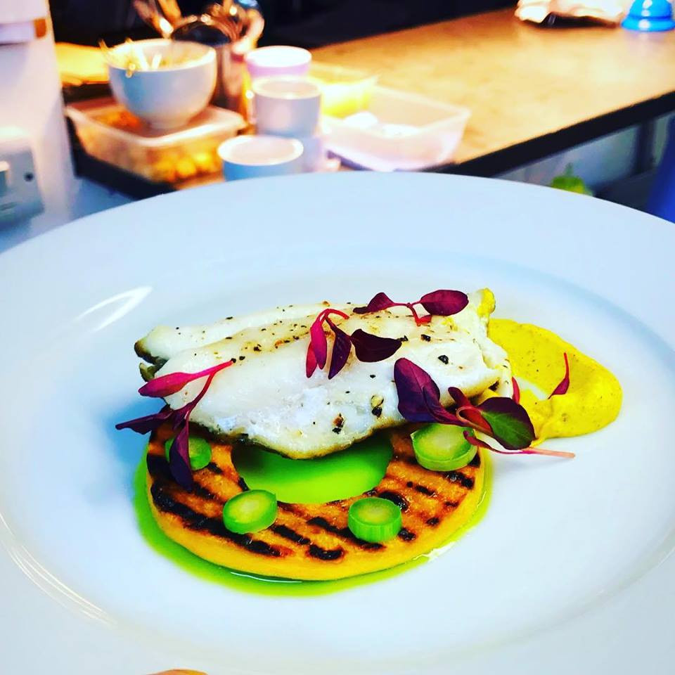 Our chefs creation with Looe John Dory, parsley oil and charred butternut squash