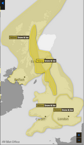 Yellow weather warning issued for ice and snow Cornwall and Devon