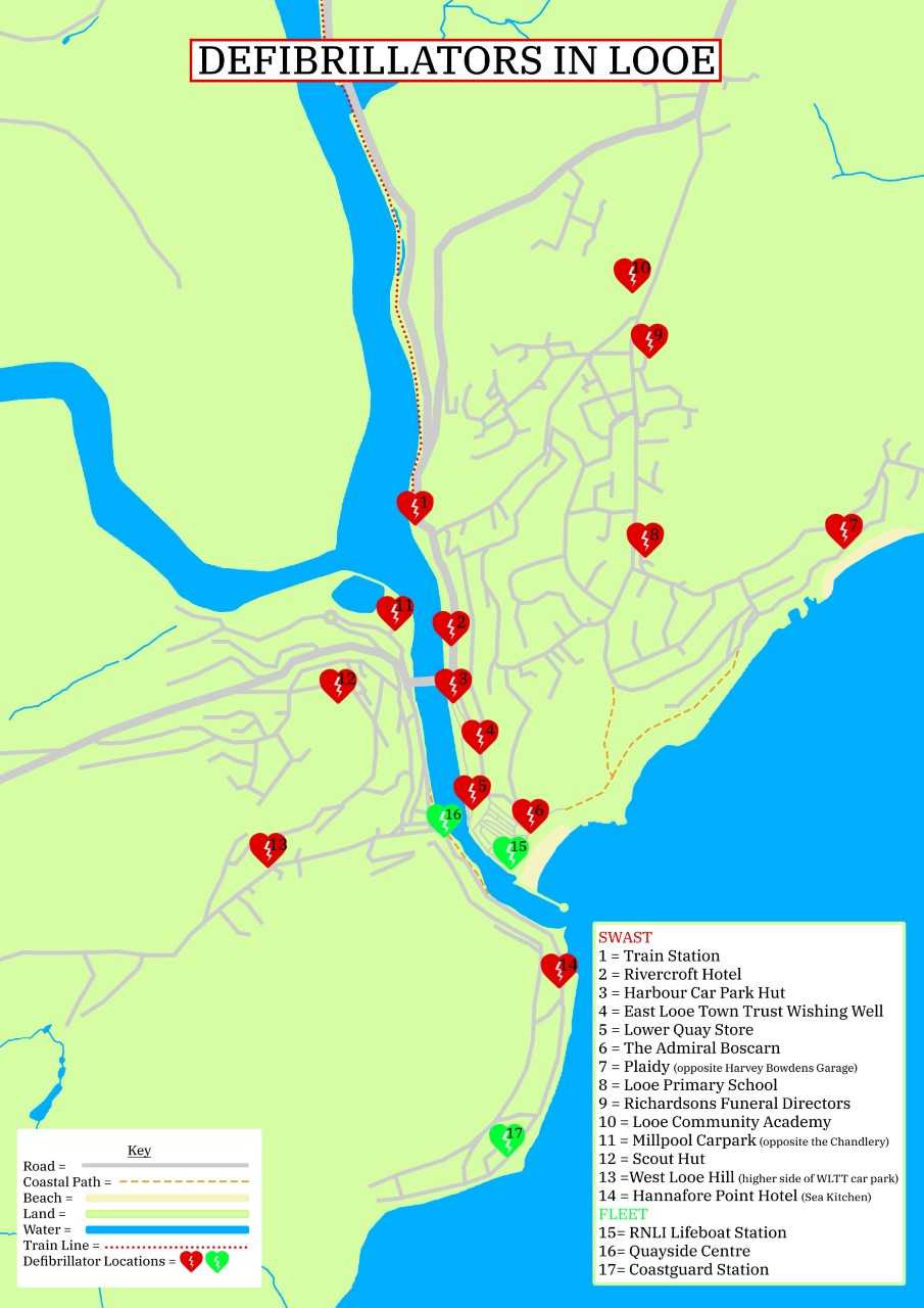 Map of all the Defibrillators in and around Looe, helpful for anyone in the area.