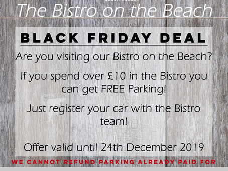 FREE parking when you spend £10 in our Bistro on the Beach