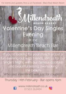 Singles Night hosted at Millendreath with cocktails, drinks, record player and beautiful views over the beach. Black Rock Beach Resort, Cornwall