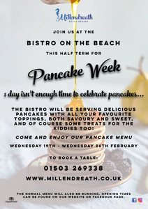 Pancakes, beach cafe, february half term, half term cornwall