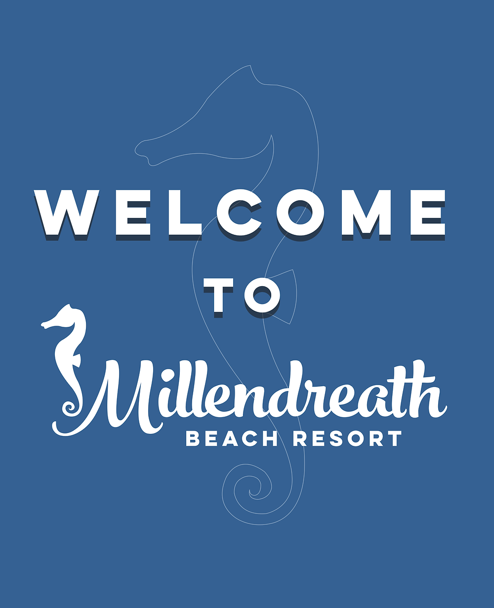 White text on blue background - Welcome to Millendreath Beach Resort