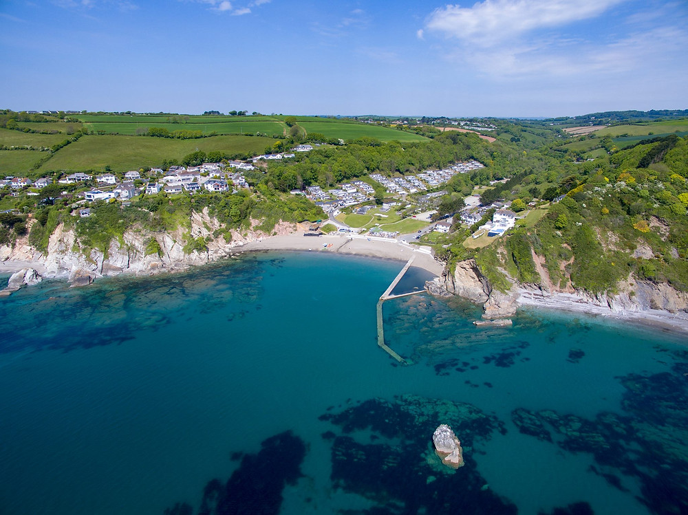 Millendreath Beach Resort in summer, perfect for swimming, safe bathing and water sports with the family. Our waters are so clean, we are one of the few locations in the UK home to one of only 2 species of British Seahorses!