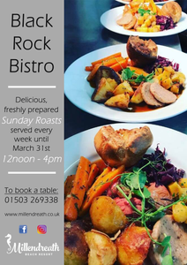 The Best Sunday Roast in Cornwall, at our Bistro on the Beach at Black Rock Beach Resort. Fresh, homecooked local produce whilst looking out over Millendreath Beach, the recipe for perfection!