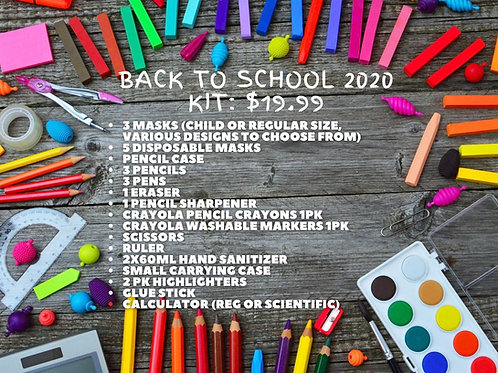 Back to School 2020 Kit Purchase for Donation ($20 with tax)