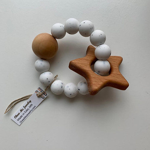 White Speckle Star Rattle