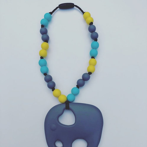 Grey, Yellow, and Turquoise Elephant Carrier Teether