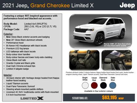 Jeep Grand Cherokee Limited X 2021 disponible pour commande au Québec (Ste-Marie et Lévis)