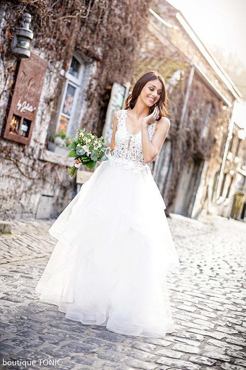 CHELSEA ∣ Robe vaporeuse blanche corsage dentelle et jupe en tulle