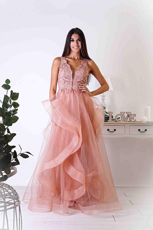 THEA ∣ Robe vaporeuse vieux-rose corsage dentelle et jupe en tulle