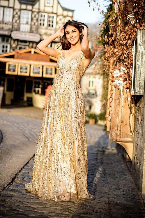 ELINA  ∣ Robe de bal champagne incrustée de paillettes