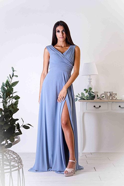OPALE ∣ Robe longue demoiselle d'honneur fendue bleu ciel