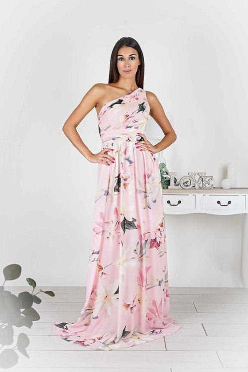 ELSIE  ∣ Robe longue rose à imprimé fleuri