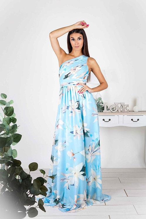 ELSIE  ∣ Robe longue bleu ciel à imprimé fleuri