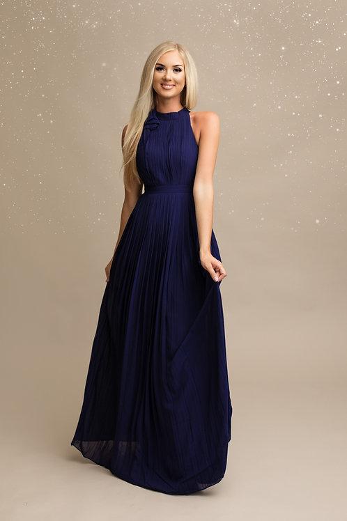 LYNE  ∣  Robe longue demoiselle d'honneur plissée marine