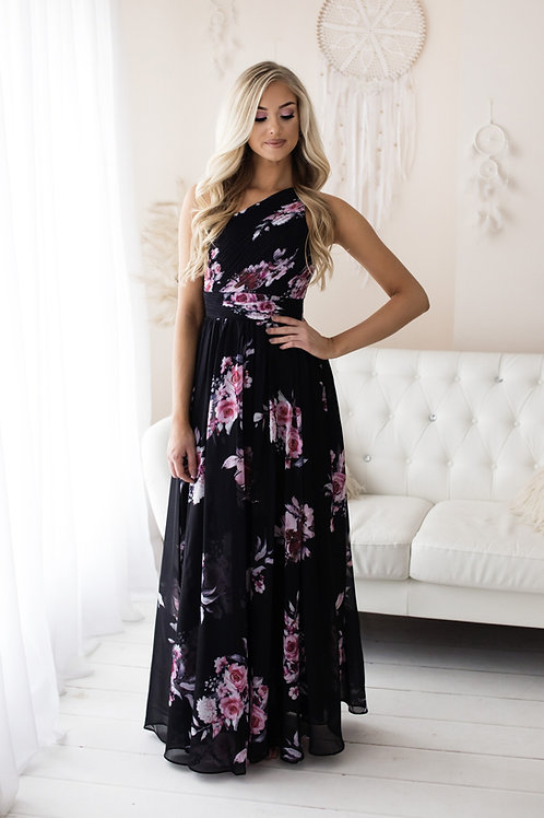 ELSIE  ∣ Robe longue noire à imprimé fleuri