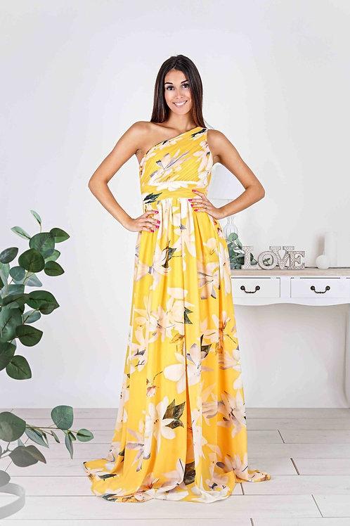 ELSIE  ∣ Robe longue jaune à imprimé fleuri