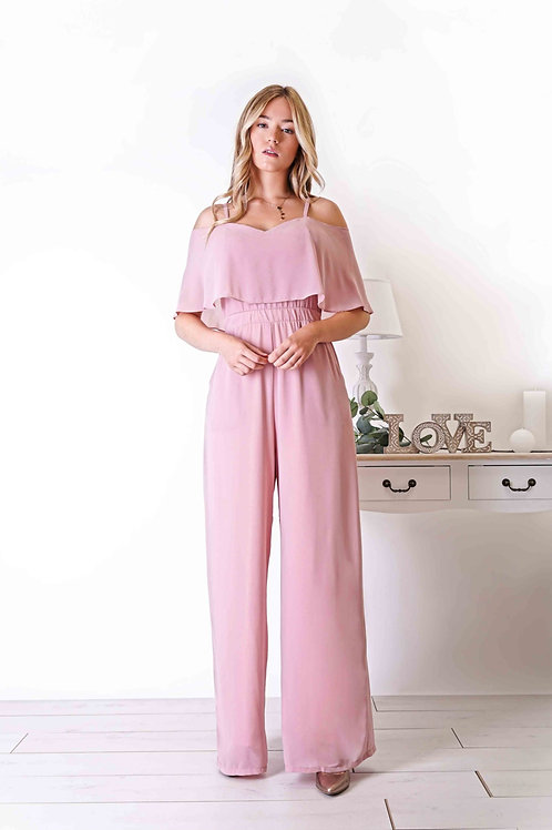 JEANNE ∣ Combinaison pantalon large vieux-rose