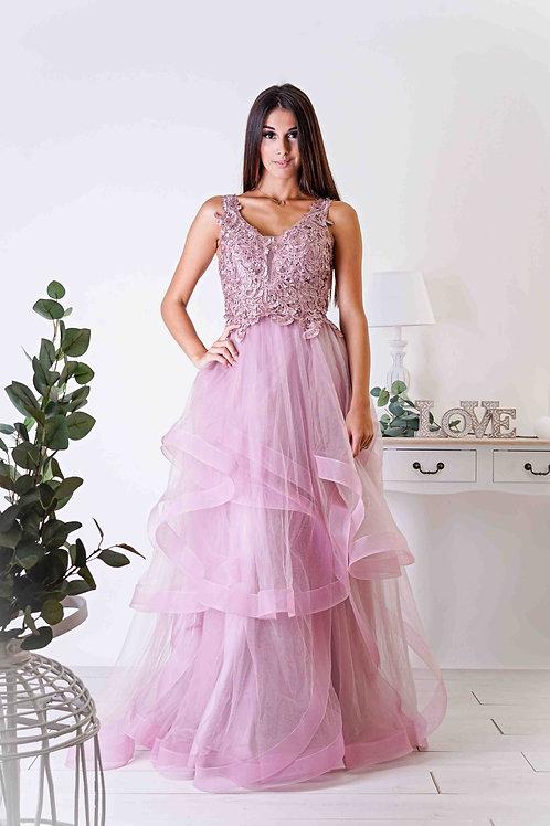 CHELSEA ∣ Robe vaporeuse vieux-rose corsage dentelle et jupe en tulle