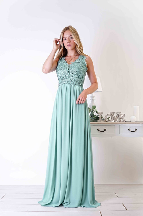 LAETITIA  ∣ Robe longue demoiselle d'honneur vert sauge