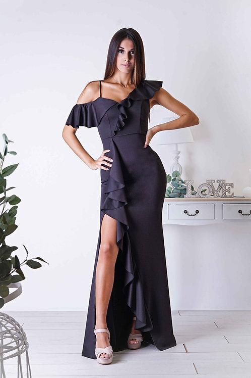 ADÈLE ∣ Robe de cocktail noire fendue à volants