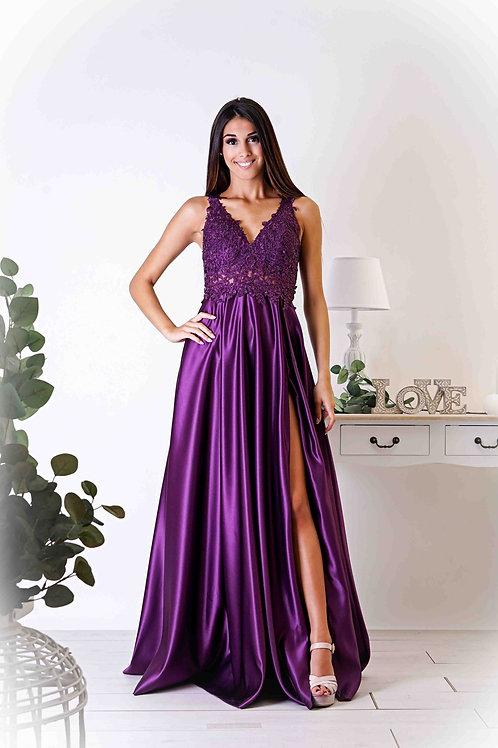AGATHE ∣ Robe de bal violet fendue corsage dentelle