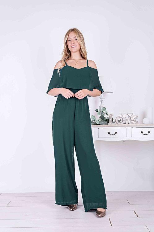 JEANNE ∣ Combinaison pantalon large vert bouteille