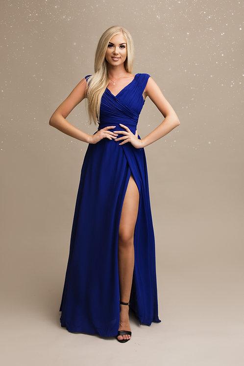 OPALE ∣ Robe longue demoiselle d'honneur fendue bleu roi