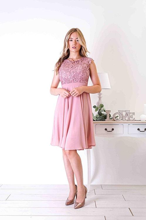 SANDRA ∣ Robe courte dentelle vieux-rose