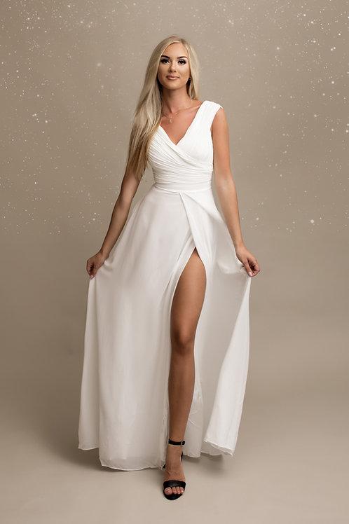 OPALE ∣ Robe longue fendue blanche