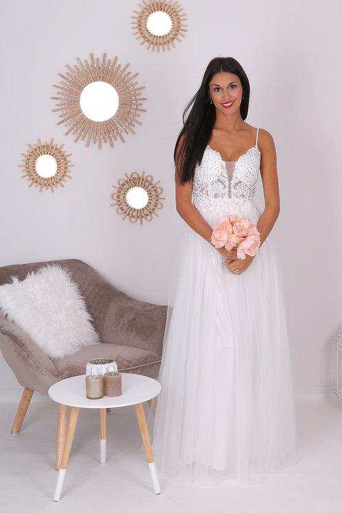 MANUELA  ∣ Robe de mariée évasée en tulle blanche