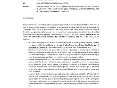 OPERACIÓN DE LOS TAXIS DURANTE EL AISLAMIENTO OBLIGATORIO