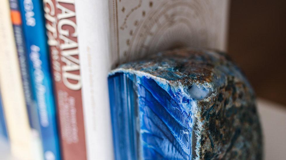 Indigo Lace Agate Book Ends