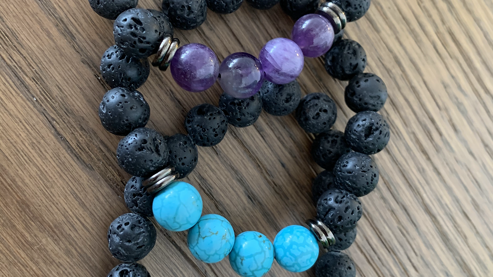 Lava Bead and Crystal Bracelet