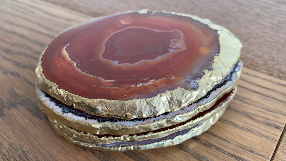 Gold Plated Botswana Agate Coasters - Set of 4