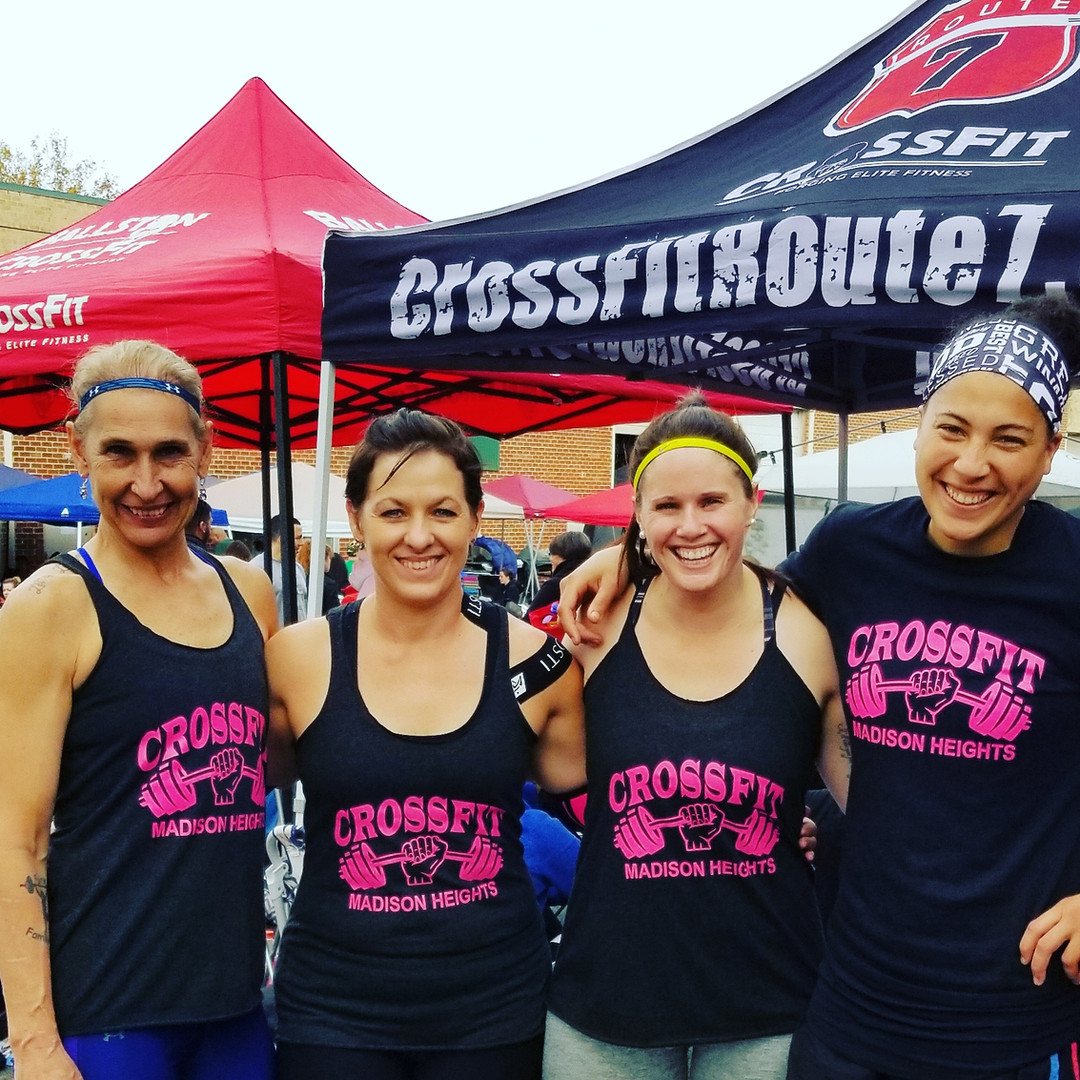 Madison Heights Misfit athletes Lona Jackson, Sheri Adams, Brooke Dunn, and Kelly Jackson after competing at Fall Brawl up at CrossFit Lorton back in the Fall of 2017.