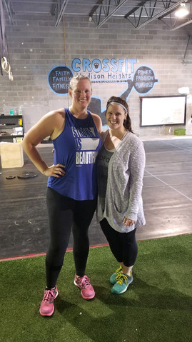 Madison Heights Misfit athletes Erin Begley and Brooke Dunn after a Sat Partner WOD.