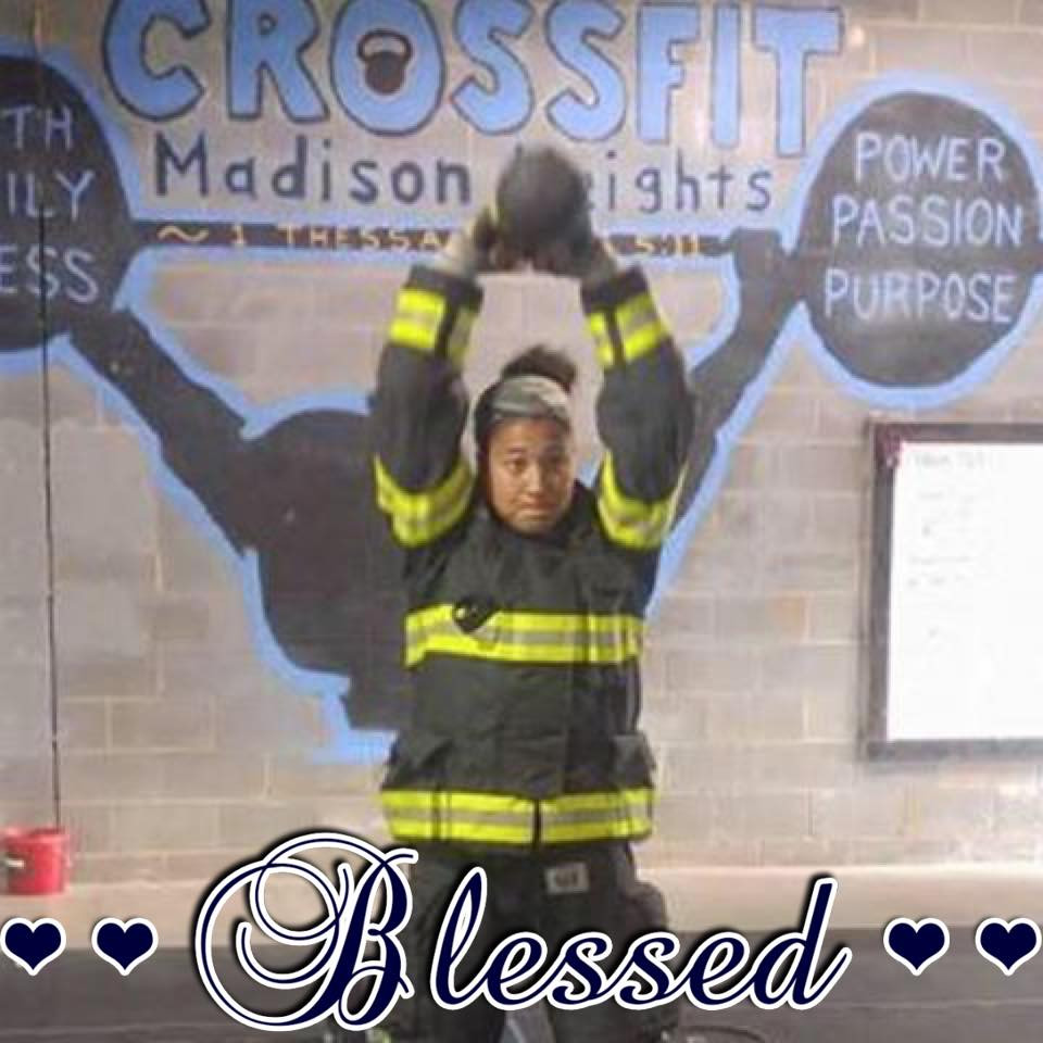 Coach Kelly Wong killing a 9/11 WOD in her uniform! Kelly was a firefighter in Charlottesville before moving to Hawaii to serve with YWAM!