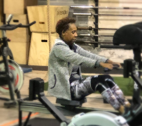 Misfit athlete Auntie Tina getting her row on during a morning class session!