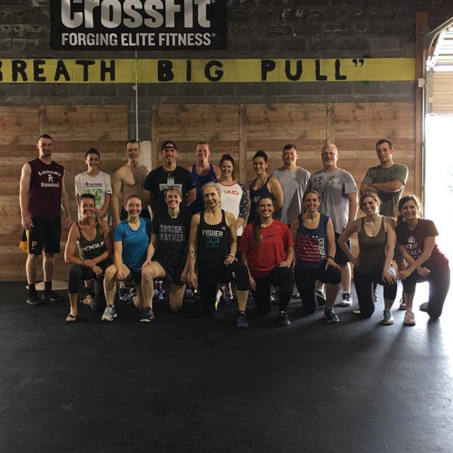 """An awesome group of our Madison Heights Misfits after tackling Memorial Day """"Murph"""" in May of 2018. """"Murph"""" is programmed in CrossFit gyms worldwide every year on Memorial Day in memory of Navy Lieutenant Michael Murphy, 29, who was killed in Afghanistan on June 28th, 2005.  During Hero WODs, the pain that [we] endure for that 60 minutes compares none to what our Military men and women, and their families, endure on a daily basis. We salute you!"""