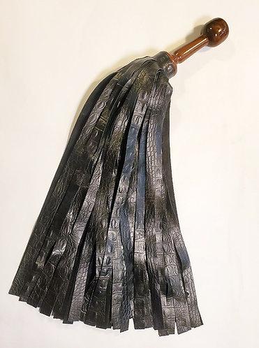 Massive Embossed Black Leather Flogger