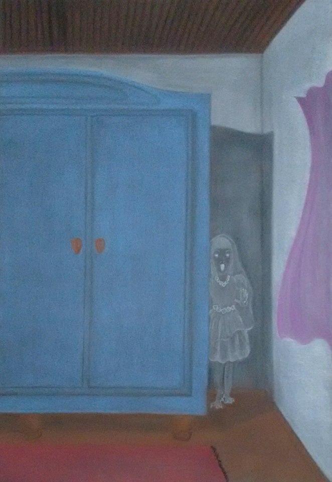 Menina morta atrás do armário