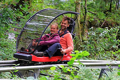 Nic & Caroline (Owners of Emlyns Coppice) ride the Fforest coaster.