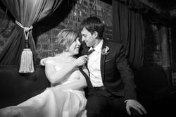 Fun wedding pose for bride & groom