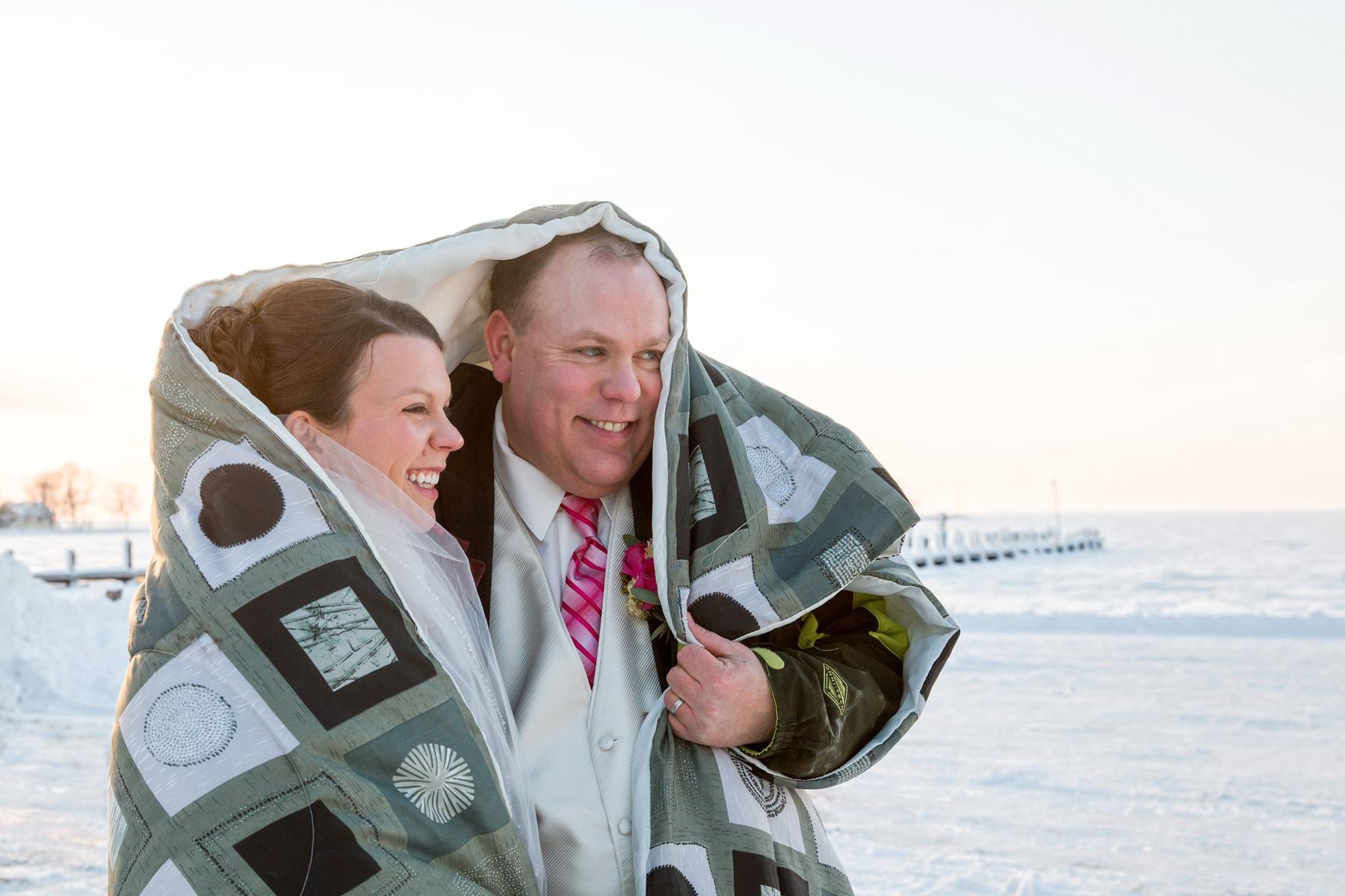 Lake Mille Lacs winter wedding