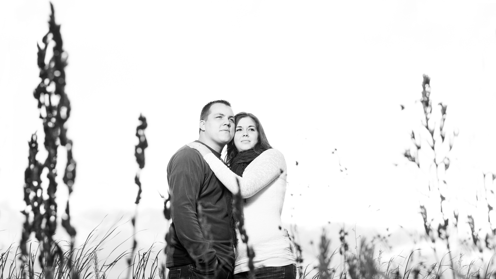 Fall Engagement Photography Session BW MN
