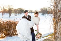 winter wedding sunset
